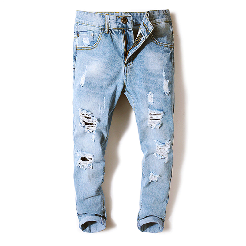 OEM Wholesale Thin and ripped jeans for men in summer popular logo
