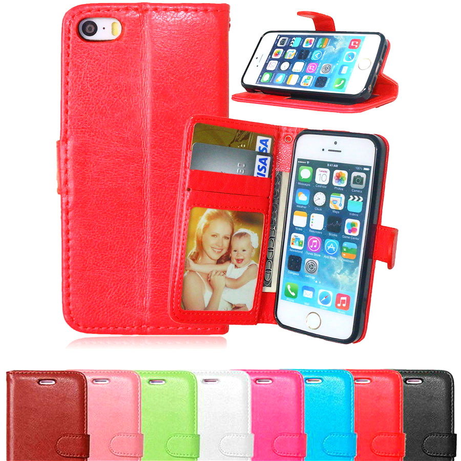 case for iphon 5 luxury wallet flip leather phone bag case for coque iphone 5s 5se card holder. Black Bedroom Furniture Sets. Home Design Ideas