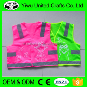 Kids Traffic reflective safety high visibility vest survey pink and yellow