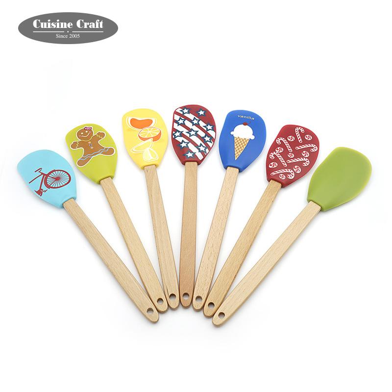 FDA/LFGB spatule Silicone à impression numérique | Motifs peints de bonne qualité, poignée en bois pour enfants, spatule en Silicone à impression numérique