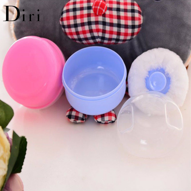 High quality long floss Soft Compact Baby body Blue Cosmetic Powder Puff with case