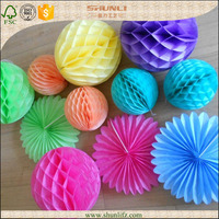 Party supplies wholesale china bridal shower favors wedding back drops holi color paper honeycomb ball