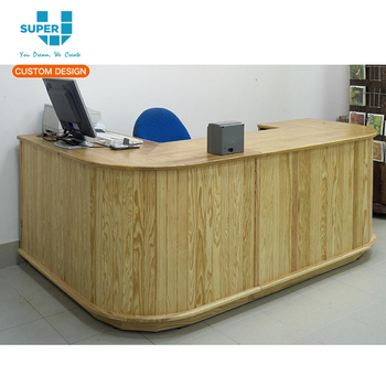 2017 Latest Wooden Cashier Counter Table Design For Retail Store
