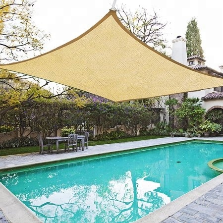 Square 16*16ft Desert Sand Outdoor HDPE Sail Material Sun Shade Sail Awning