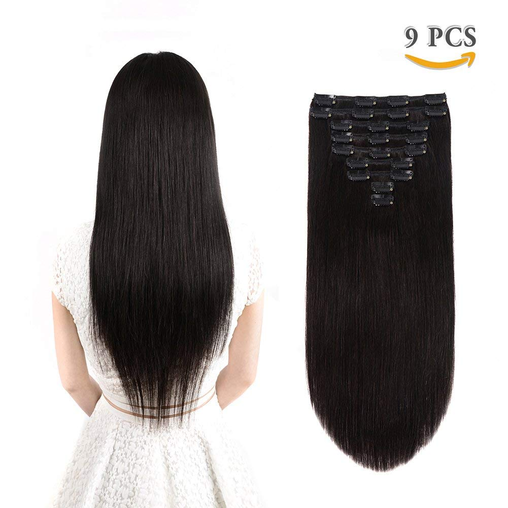 "Real Hair Extensions Clip in Human Hair Natural Black 9 pieces - Premium Womens Straight Thick Remy Double weft Clip In Hair Extensions for Short Hair(14"" / 14 inch, #1B, 120 grams/4.3 Oz )"