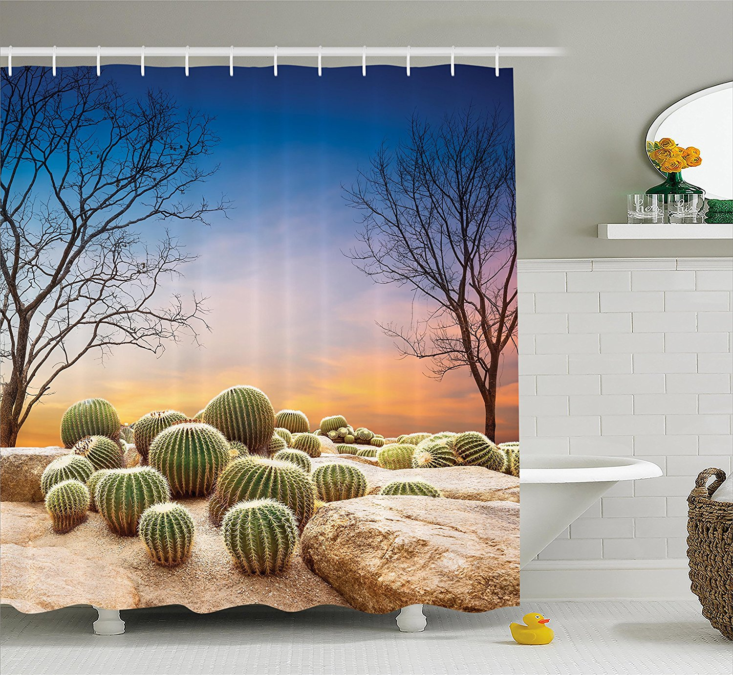 Gentil Get Quotations · Cactus Decor Shower Curtain By Ambesonne, Cactus Balls  With Spikes On A Montain Desert Sand