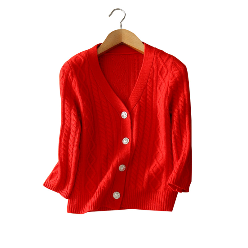 100 cashmere single breasted knitting coats V neck full sleeve solid color knitting clothings autumn font