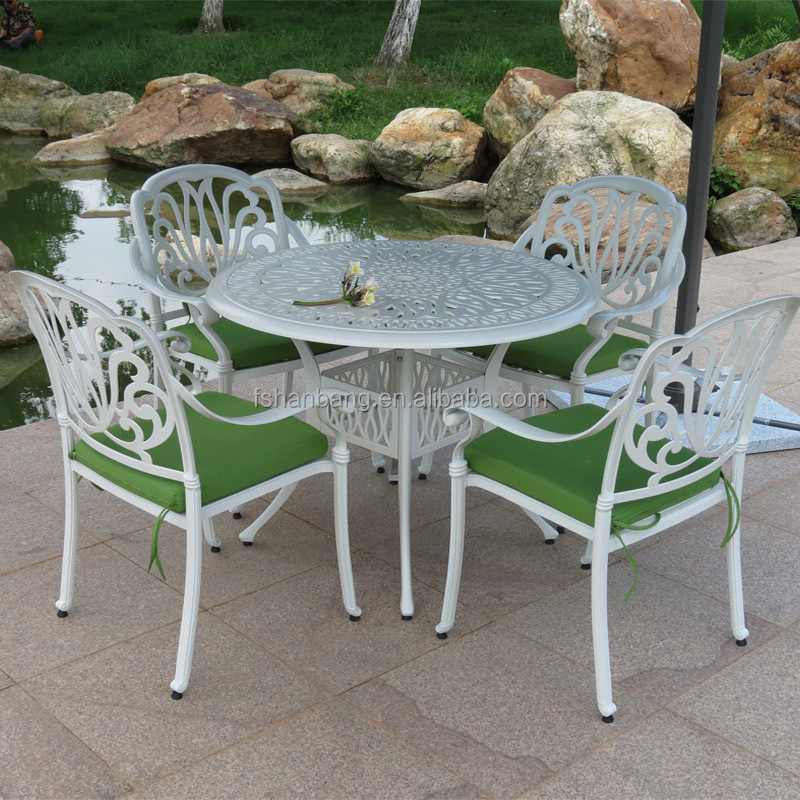 Venta al por mayor blanco mesa de hierro forjado y sillas-Compre ...