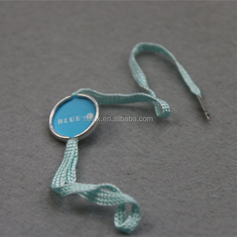 Garment accessory small blue ribbon custom round alimiunm seal tag