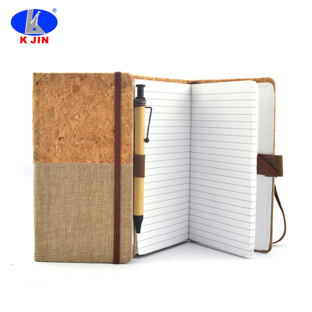 Cork abdeckung recycle customized logo notebook mit band seite locator