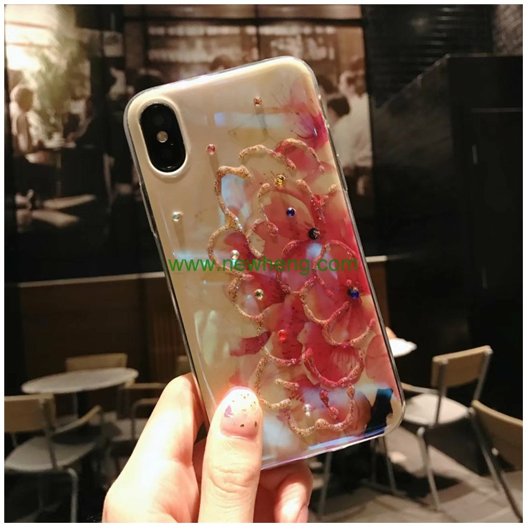 Relief Flowers Blue light TPU 3D Phone Case Cover for iPhone X