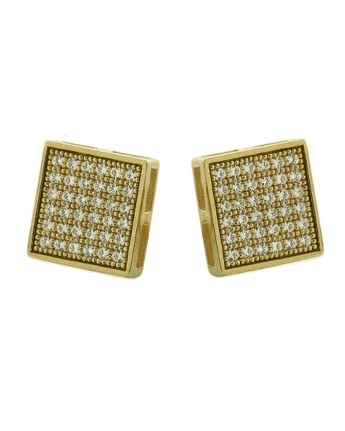 6598e9bcb Get Quotations · Gold-plated Micro Pave CZ Cubic Zirconia Square Stud  Earrings 5mm
