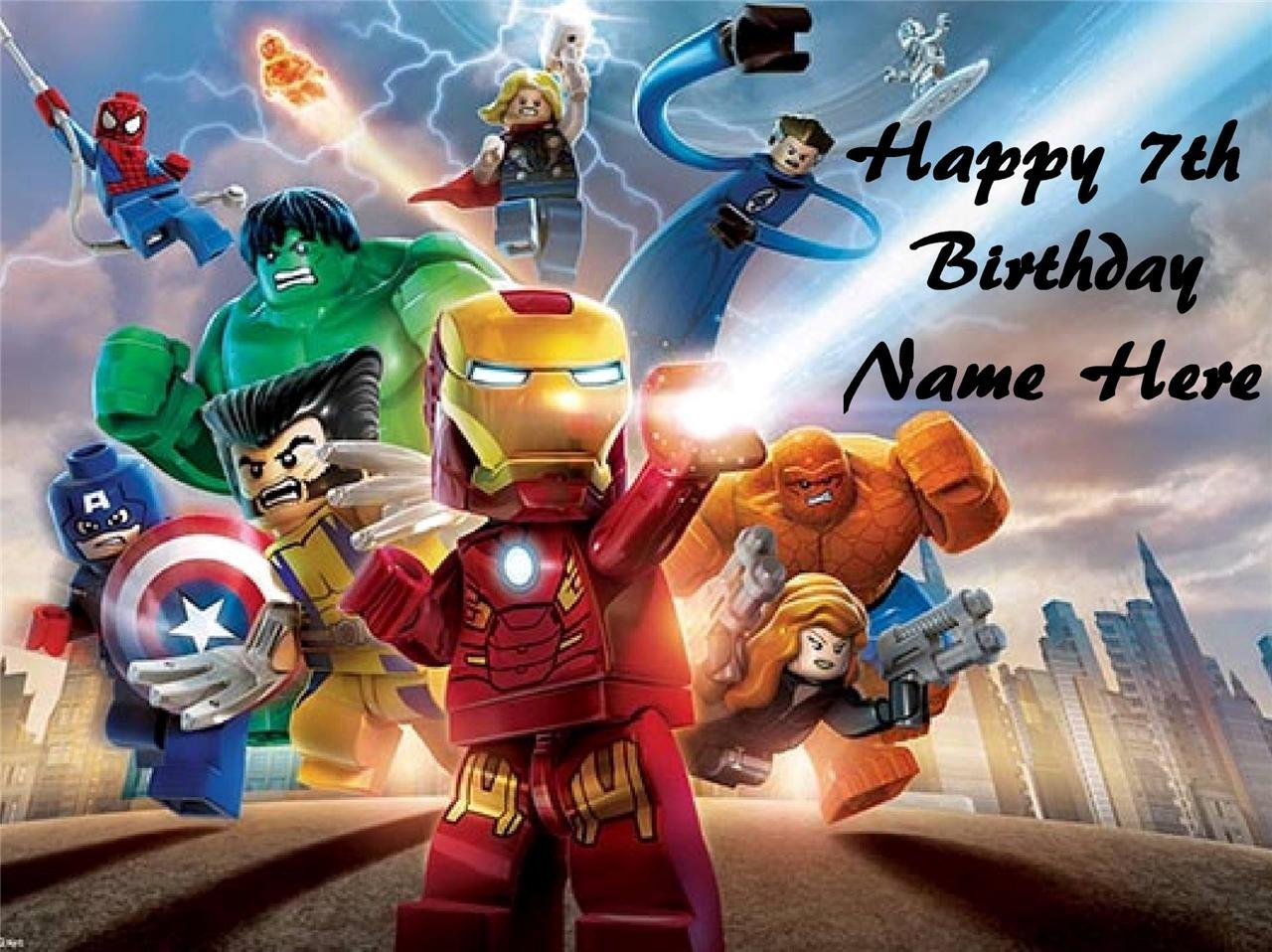 Lego Super Heroes edible icing cake toppers. View 3 images Select + personalise! image 2