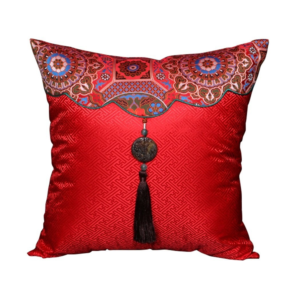 Red pillow / Chinese classical pillow / sofa cushions /office pillow / bed backrest /Car waist cushion /Simple fashion cushion /Square pillow ( Size : 4343cm )
