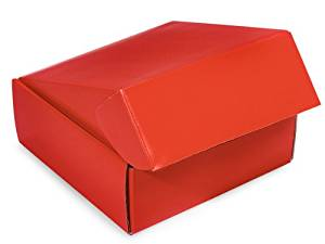 "Decorative Shipping Boxes - Red Gourmet Shipping Boxes 8x8x3"" Auto Lock Boxes - (6 Per Pack) - WRAPS - 51RE"
