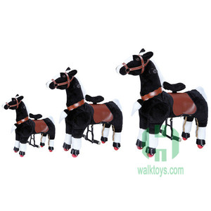 2018 Happy Island indoor mechanical ride horse toys plush animal ride on toys walking horse toys for sale