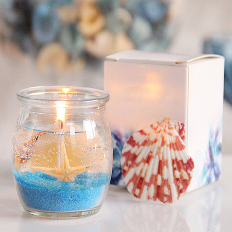 Wholesale good quality sea beach candle scented gel candle for decoration
