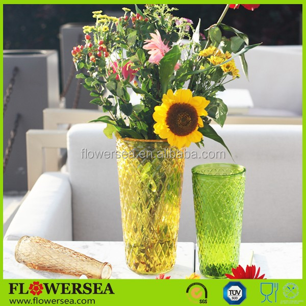 FLOWERSEA 2017 new home decor mother's day gift colored&clear tall crystal glass flower vase