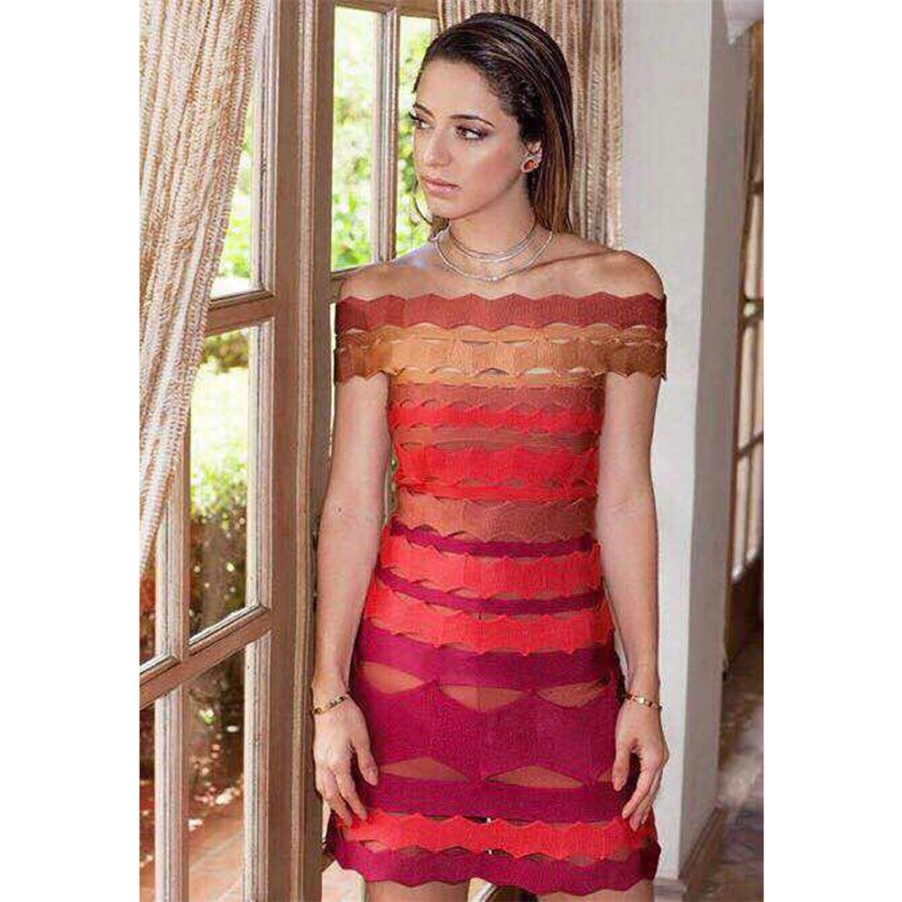 Foreign trade hot selling new summer style off-shoulder sexy tight short dress female formal Jacquard bandage dress