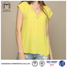 Fashion clothes women V neck chiffon dry fit plain sexy tops with Korean design