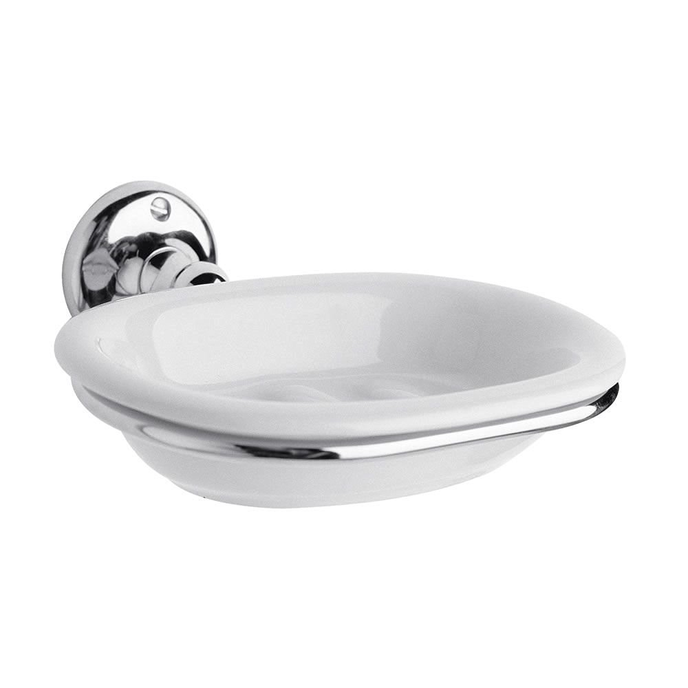 Milano Bathroom Wall Mounted Ambience Ceramic Soap Dish U0026 Holder In Chrome  Finish