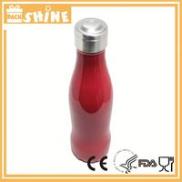 Unbreakable glitter vacuum insulation tumbler 500ml curve cola shape spray bottle