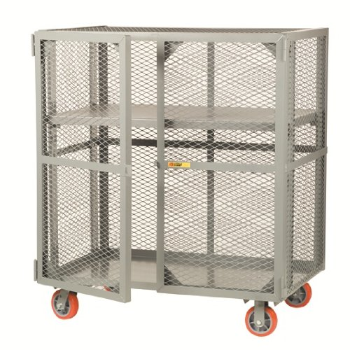 "Little Giant SC-A-3060-6PPY Welded Steel Visible Mobile Storage Locker with Adjustable Center Shelf, 2000 lbs Load Capacity, 56"" Height x 30"" Width x 60"" Length"