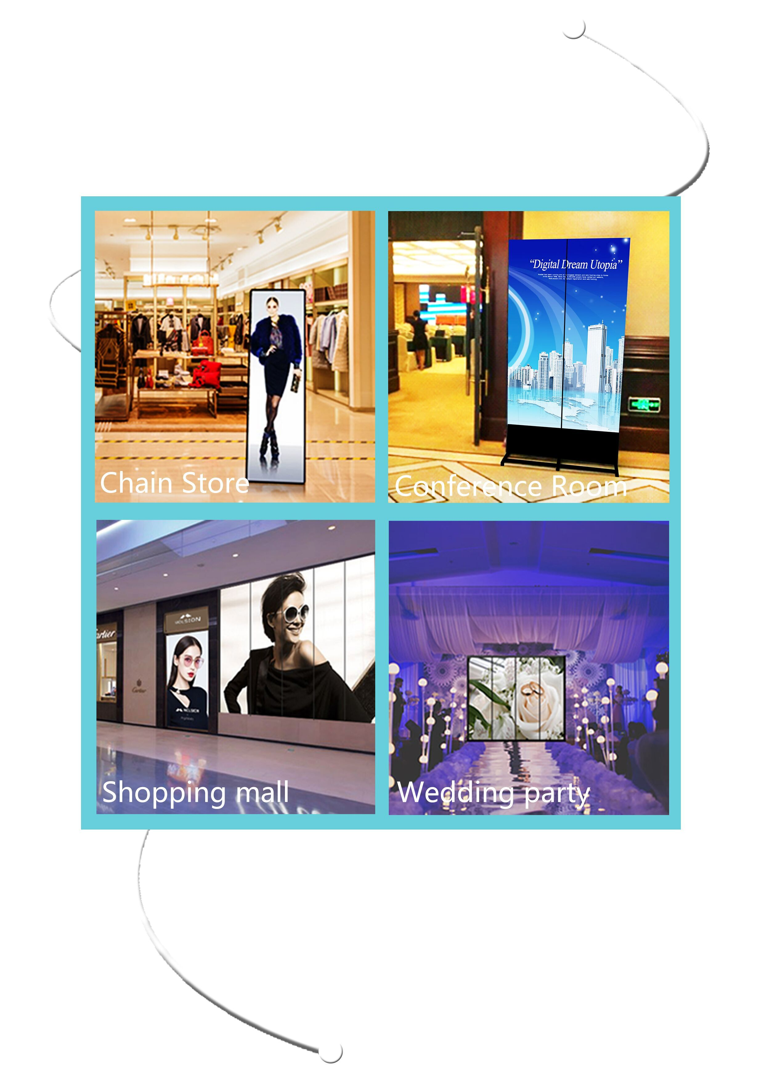 new advertising light animated backlit board acrylic video indoor transparent screen frame digital led poster display