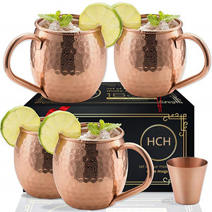 Russian Moscow Mule Copper Mugs Set of 4 Cocktail mugs with gift box