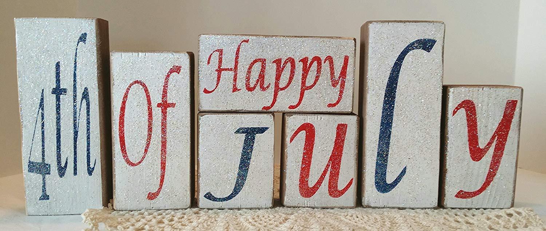 Happy 4th Of July Wood Americana Blocks Holiday Blocks Glitter Blocks