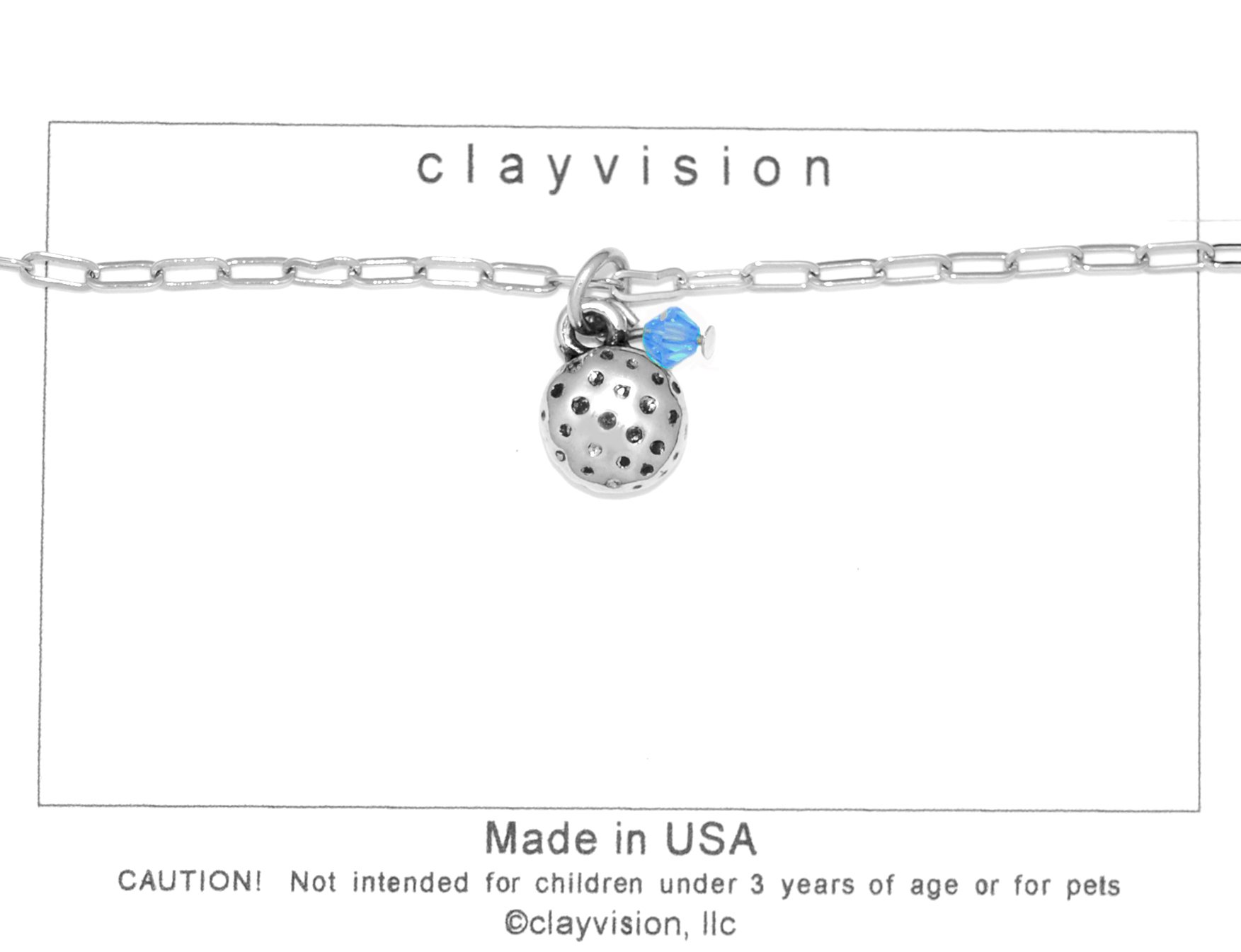 Clayvision Golf Ball (Flat) Charm Bracelet w/4mm Sapphire Colored Swarovski Crystal Blue September