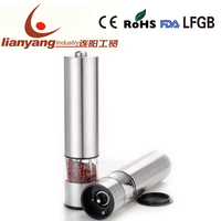 Electric pepper mill stainless steel spice grinder/pepper grinder/salt and pepper grinder set /4XAA battery operated