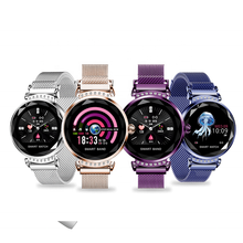 Newest Fashion H2 Lady Smart Watch 3D Diamond Glass PPG Heart Rate Blood Pressure Lady Smart watch 2019