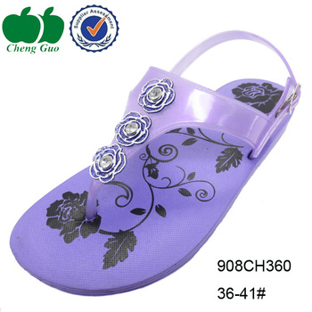 d8baf8263 Pure purple jeweled flat fashion beautiful women soft pvc beaded wedge  sandals  summer shoes
