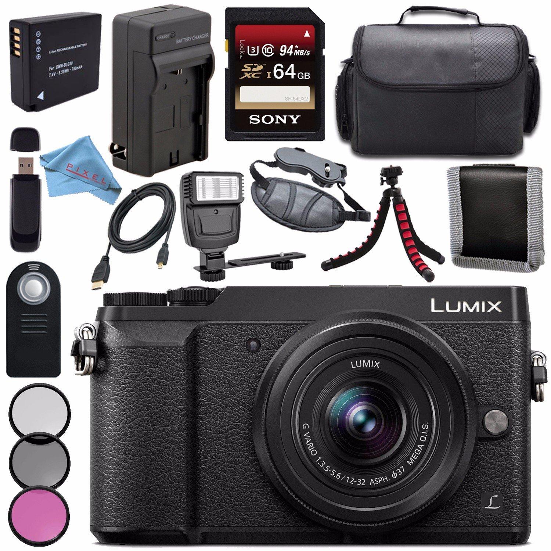Panasonic Lumix DMC-GX85 DMCGX85 Digital Camera with 12-32mm Lens + 37mm 3 Piece Filter Kit + DMW-BLG10 Lithium Ion Battery + External Rapid Charger + Sony 64GB SDXC Card Bundle