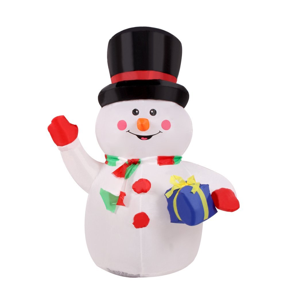 Xiaolanwelc@ Christmas Decor 1.2m/3.9ft Inflatable Waving Hand Snowman for Christmas Cute Inflatable Xmas Christmas Decoration for Home