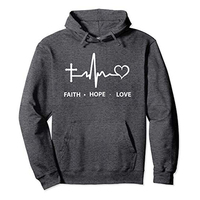 Faith Hope Love Heartbeat Hooded Sweater Mens Casual Hoodies Sports Sweatshirt Pullover With Pocket