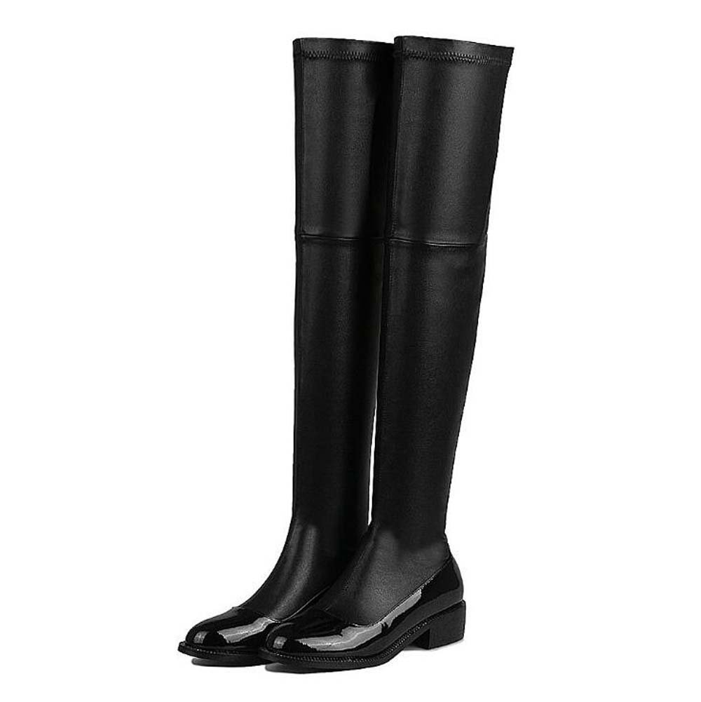 1dd61a9e8 Get Quotations · Thigh High Boots Knee High Boots Stretch Boots 2017 Autumn  And Winter New Women Simple Round