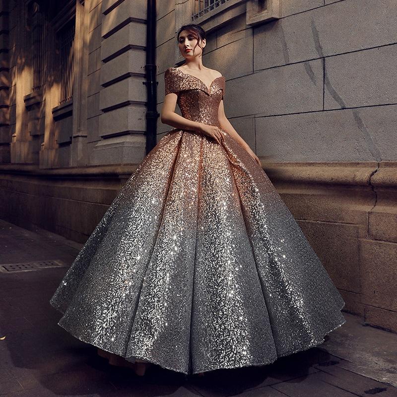 1007af32204 Ball Gown Off Shoulder Floor Length Sequins Colourful Stylish Silver  Wedding Dresses For Modern Brides - Buy Ball Gown Wedding Dresses,Bride  Dressing ...