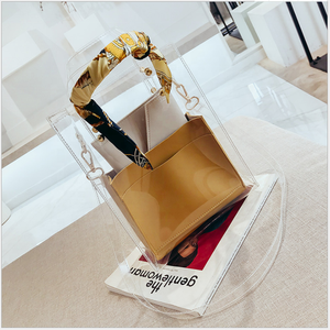 2019 New Fashionable Women PVC tote bags jelly candy handbag