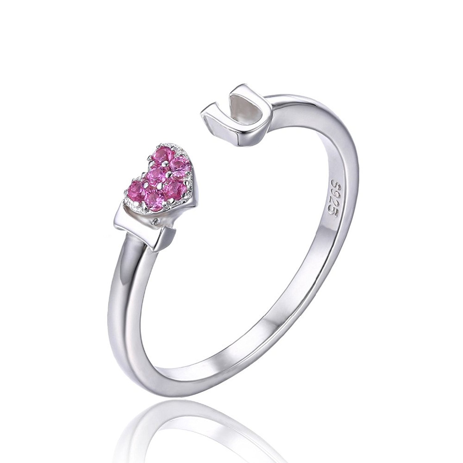 PSRINGS Rings I Love You Created Pink Sapphire Heart Wrap Stackable 925 Sterling Silver Heart