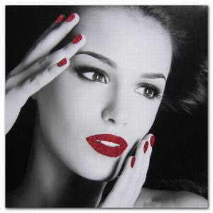 Black And White Sexy Woman Lady Canvas Prints Red Lips and Nails Girl Body Art Picture
