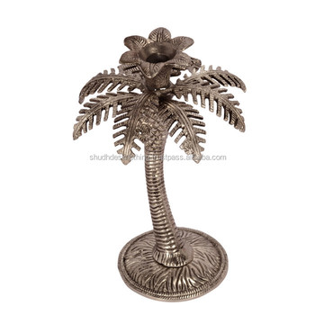 White Metal Palm Tree Candle Stand