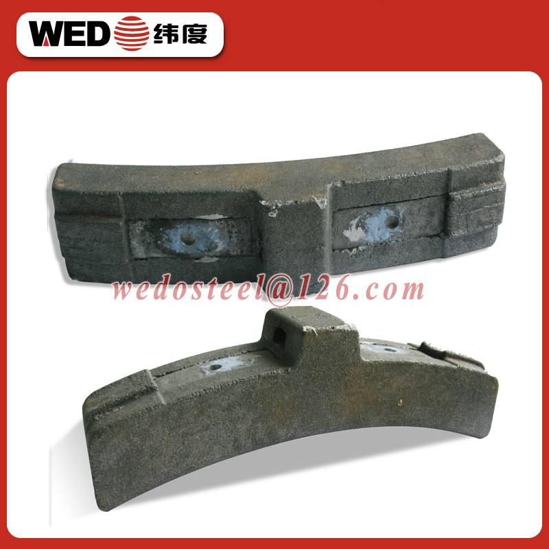 WEDO cast iron rail brake shoe for railway train parts