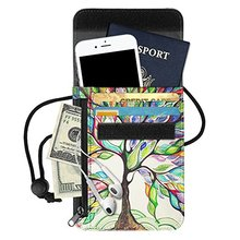 Manufacturing Custom RFID Blocking Leather Printing Passport Holder Neck Pouch