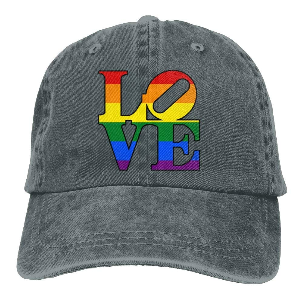 ICESALT Unisex Adult Colorful Rainbow Love Vintage Cotton Denim Baseball Cap Hat