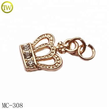 Crown shape metal hang tag supply gold brand metal tag for clothes