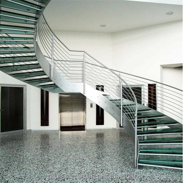 New Products Steel Plexiglass Steps Stairs Curved Staircase Cost