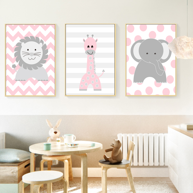 Nursery Animals Lion Elephant Giraffe Poster Canvas Paintings Print Nordic Wall Art Picture For Boys S Room Decor On