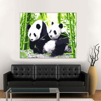 Diy oil painting by numbers abstract acrylic paint animal colorful Pandadecorative canvas painting coloring by number drawing